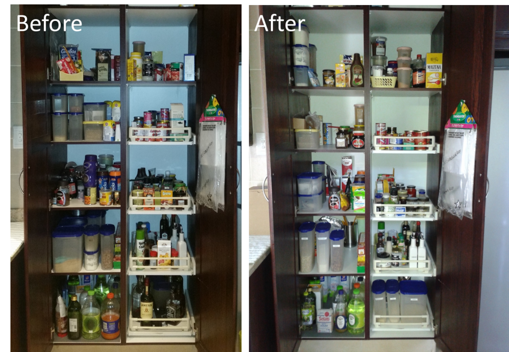 Grocery cupboard before and after